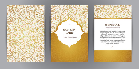 Vector set of vintage cards in Eastern style.