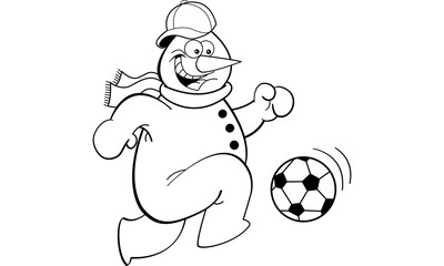 Black and white illustration of a snowman playing soccer