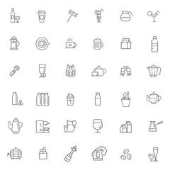 Outline web icon set - drink coffee, tea, alcohol