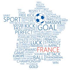 France Word Map. Concept Soccer / Football Background. Vector Illustration