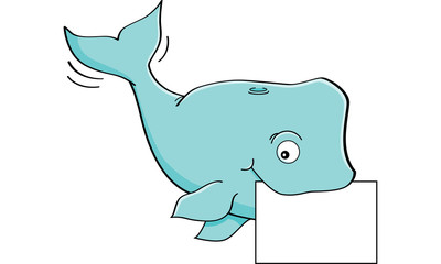 Cartoon illustration of a whale holding a sign.