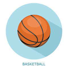Flat simple icon basketball on a blue circle. It is easy to chan