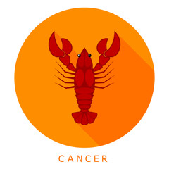 Red cancer on an orange background. Sleek style. Simple icon. Ea