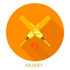 Flat simple icon cricket on a red circle. It is easy to change t