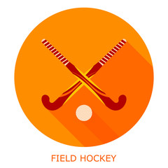 Flat simple icon field hockey on a red circle. It is easy to cha