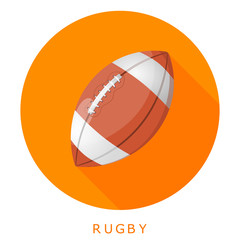 Flat simple icon rugby ball on a red circle. It is easy to chang