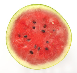 Cross Section of  Red Water Melon with Black Seeds