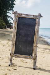 Empty signboard on the beach