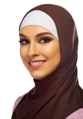 Muslim woman closeup isolated