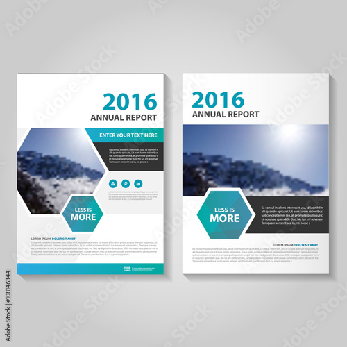 Hexagon Blue Vector Business Proposal Leaflet Brochure Flyer
