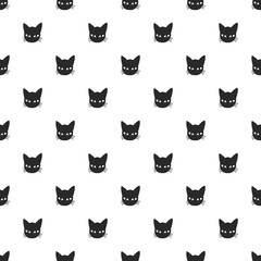 Seamless vector pattern with black cat head