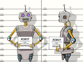 Robot arrested photo in police pop art vector