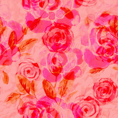 Watercolor seamless floral pattern. Roses. Grunge background. Can use them for wrapping paper, wallpaper, cards, prints, covers.