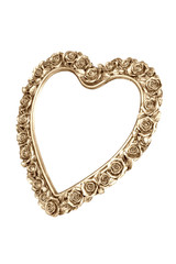 Golden heart picture frame isolated on white with clipping path.