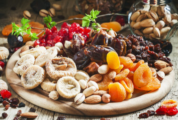 Healthy lean food: set of dried fruit with figs, dates, cherries