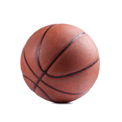 Photo of an old classic basketball isolated on white bckground. High resolution Studio shot