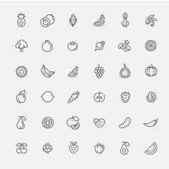 Fruit and Vegetables icon set