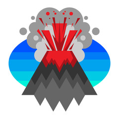 Vector illustration of a cartoon volcano with smoke and hot lava