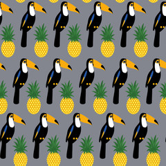 Tropical seamless pattern with toucans and pineapples. Trendy Jungle illustration on gray background. Fashion summer background.