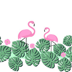 Summer card with tropical palm leaves and flamingo. Seamless tape design. Bright summer design with space for text. Pink flamingos and green palm leaves illustration.