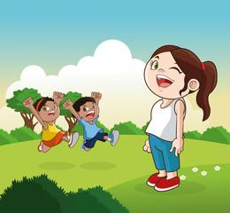 Cartoon of happy little Kids, vector illustration