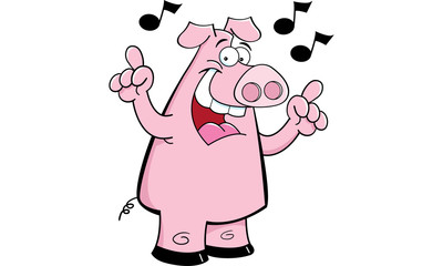 Cartoon illustration of a pig singing.