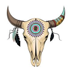 vector illustration bull skull. Ethnic style