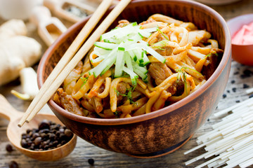 Udon noodles with meat and vegetables in sauce