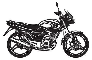 Вlack sports bike. Motorcycle. Vector illustration.