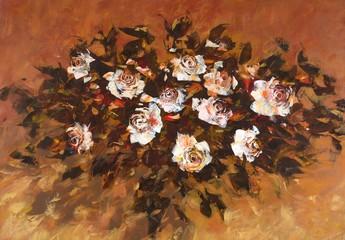 White roses ,handmade painting