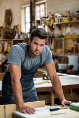 Carpenter is posing
