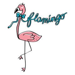 pink flamingo with blue ribbon