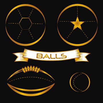 stylized Golden balls, American Football, soccer, tennis, icons. vector illustration.