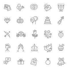 Outline web icon set wedding