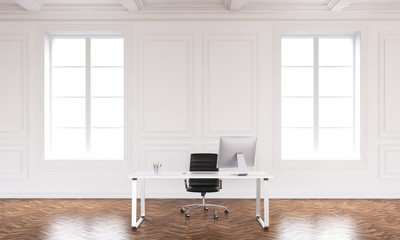 Office interior with workspace