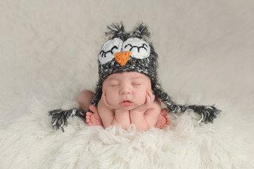 Newborn Baby Boy Wearing an Owl Hat