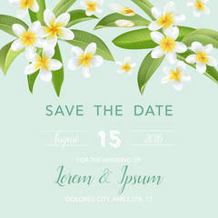 Wedding Invitation Card - with Tropical Flowers Background