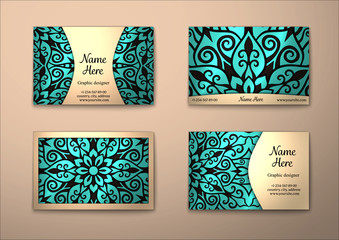 Vector vintage visiting card set.