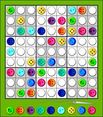 Logic Sudoku puzzle with funny buttons. Vector image.