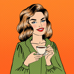 Beautiful Woman with Cup of Coffee. Pin Up Girl. Pop Art.