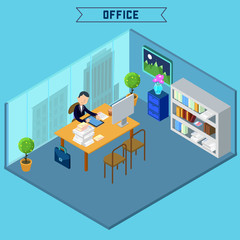 Modern Office Interior. Isometric Office. Businessman at Work.