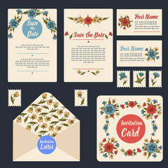 Wedding Invitation Stationary Set. Floral Decoration