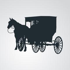 Icono plano silueta carruaje amish en fondo degradado