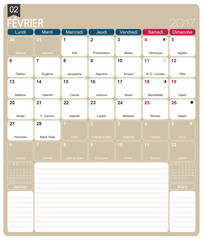 .French calendar 2017 / February 2017, French printable monthly calendar template, including name days, lunar phases and official holidays.