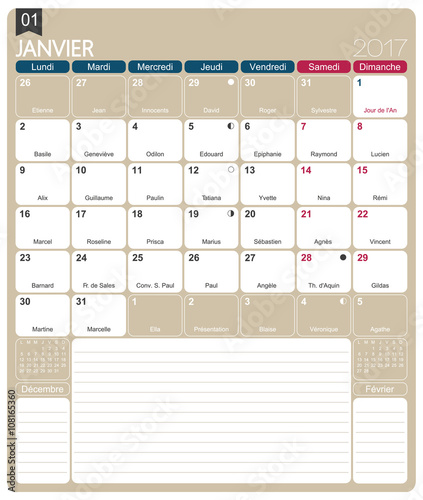 French calendar 2017 / January 2017, French printable monthly calendar ...
