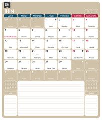French calendar 2017 / June 2017, French printable monthly calendar template, including name days, lunar phases and official holidays.