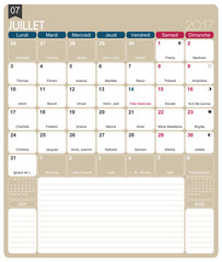 French calendar 2017 / July 2017, French printable monthly calendar template, including name days, lunar phases and official holidays.