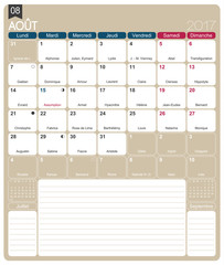 French calendar 2017 / August 2017, French printable monthly calendar template, including name days, lunar phases and official holidays.