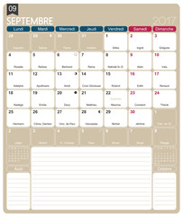 French calendar 2017 / September 2017, French printable monthly calendar template, including name days, lunar phases and official holidays.
