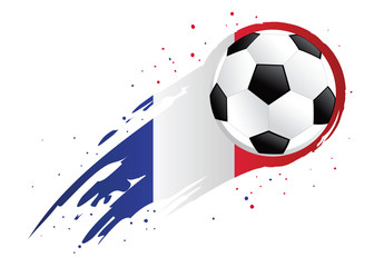 Soccer Ball With Abstract France Insignia Background